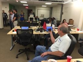 Mentor Bill Warner capturing the pitches on digital